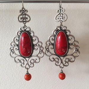 Vintage Costume Earrings Red Stone & Silver